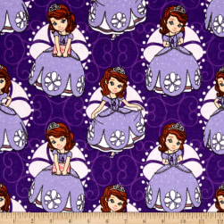 Disney Flannel Sofia Poses Purple Fabric