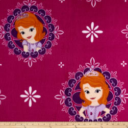 Disney Fleece Sofia the First Dark Magenta Fabric