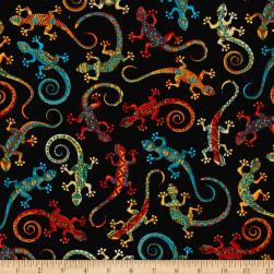 Timeless Treasures Out West Geckos Black Fabric