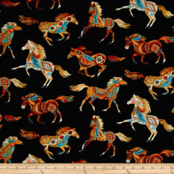 Timeless Treasures Out West Southwest Horses Black Fabric