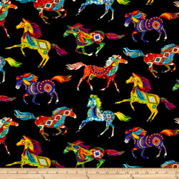 Timeless Treasures Out West Southwest Horses Brite Fabric