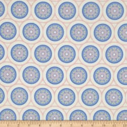 Rose Quartz and Serenity Merry Medallion White Fabric