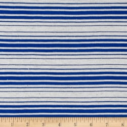 Designer Cotton Blend Jersey Knit Stripe Blue Ivory