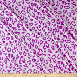 Lightweight Sweater Knit Purple Cheetah Print on Ivory