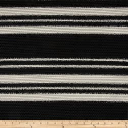 Mesh Knit Black/Ivory Stripes Fabric