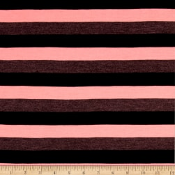 Jersey Knit Neon Pink/Black stripes