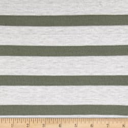 Jersey Knit Ribbed Sage Stripes on Ivory
