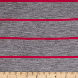 Jersey Knit Hot Pink Stripe on Heather Gray