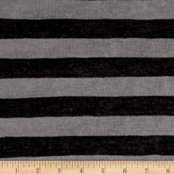Lightweight Sweater Knit Stripe Black/Heather Gray