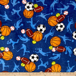 Whisper Plush Fleece All Sports Dark Blue Fabric