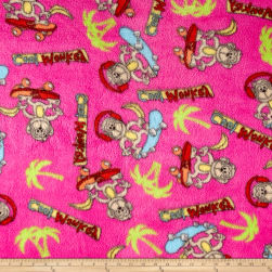 Whisper Plush Fleece Cool Monkey Fuschia Fabric