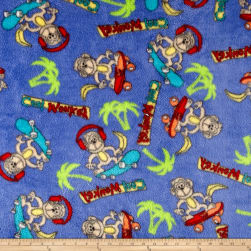 Whisper Plush Fleece Cool Monkey Royal Fabric