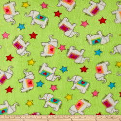 Whisper Plush Fleece Elephants Lime Fabric