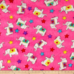 Whisper Plush Fleece Elephants Pink Fabric