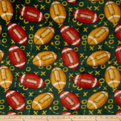 Whisper Plush Fleece Football Playcalls Green Fabric