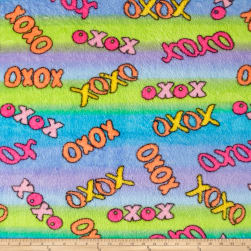 Whisper Plush Fleece Hugs and Kisses Lagoon Fabric