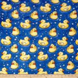 Whisper Plush Fleece Sitting Ducks Cool Royal Fabric