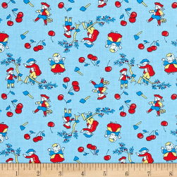 Storybook Americana Washingtons Cherry Tree Blue Fabric