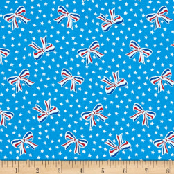 Storybook Americana USA Bows Blue Fabric