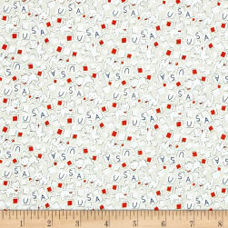 Storybook Americana USA Cats White Fabric