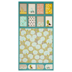 Moda Bluebird Park 22 In. Panel Teal Fabric