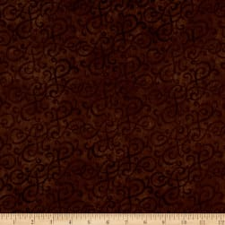 Flannel Scroll Brown Fabric