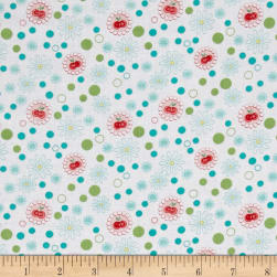 Kitchen Love Cherry Love White/Turquoise Fabric