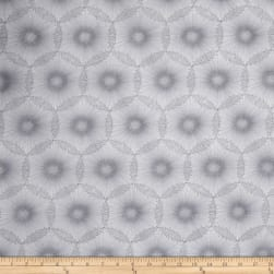 Nature's Pearl Pearlescent Dandelion Dots White/Gray Fabric