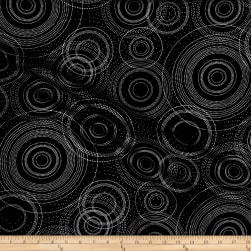 Nature's Pearl Pearlescent Beaded Circle Charcoal Metallic Fabric