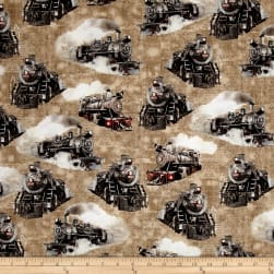 Kanvas Railway Express Steam Engines Tan Fabric