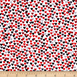 Scottie Love Love Me Hearts White Fabric