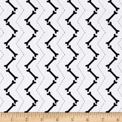 Scottie Love Zig Zag Bones Black Fabric