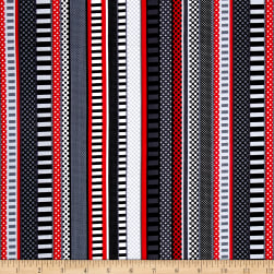 Scottie Love Dottie Stripe Black Fabric