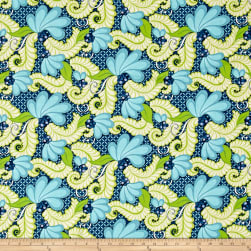Feathers & Flourishes Feather Scroll Turquoise Fabric