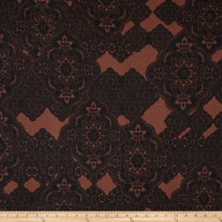 Liverpool Double Knit Paisley Lace Brown Fabric