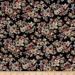 Crepe Floral Garden Black Fabric