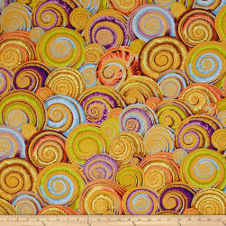 Philip Jacobs Spiral Shells Gold Fabric