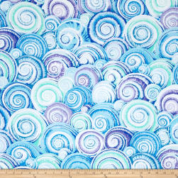 Philip Jacobs Spiral Shells Skyblue Fabric