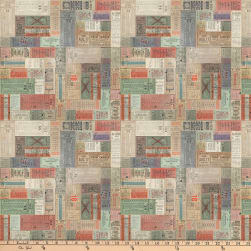 Tim Holtz Correspondence Transportation Ticket Multi Fabric