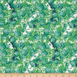 Tina Givens Rose Water Topiary Green Fabric