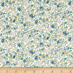 Kaufman Sevenberry Bouquet Large Flower Blue Fabric