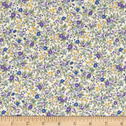 Kaufman Sevenberry Bouquet Large Flower Purple Fabric