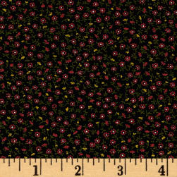 Kaufman Sevenberry Petite Garden Buds Black Fabric