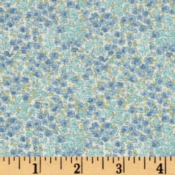 Kaufman Sevenberry Petite Garden Tight Buds Blue Fabric