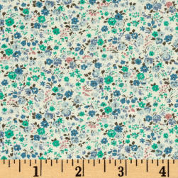 Kaufman Sevenberry Petite Garden Bunches Aqua Fabric