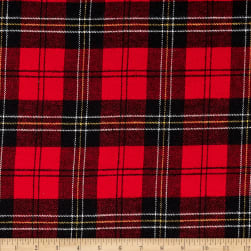 Kaufman Tahoe Flannel Plaids 7.2 Oz Double Brushed Large Plaid Red