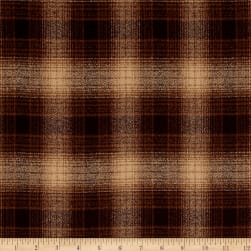 Kaufman Mammoth Flannel Plaids Espresso Fabric