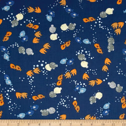 Noah's Story Fish Navy Fabric