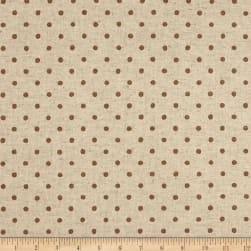 Kaufman Sevenberry Canvas Natural Dots Small Brown