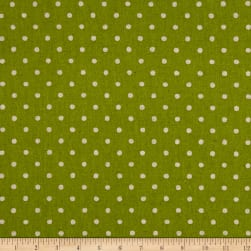 Kaufman Sevenberry Canvas Natural Dots Small Lime Fabric